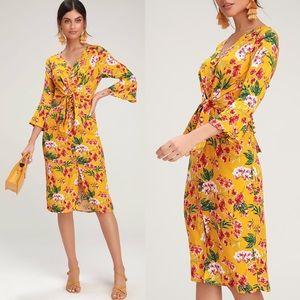 NWT Lulus April Yellow Floral Midi Dress Small S